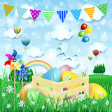 Easter background with Easter eggs and countryside Stock Images