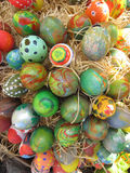 Easter Background. Easter Eggs decorated by children Royalty Free Stock Photos
