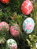 Easter Background. Easter Eggs decorated by children Royalty Free Stock Photo