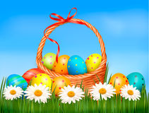 Easter background. Easter eggs and flower with basket Stock Images