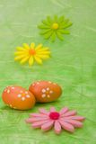 Easter background. Easter eggs and flowers. Royalty Free Stock Photography