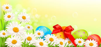 Easter background with Easter eggs and flowers Stock Image