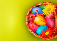 Easter background with Easter eggs and flowers wit Royalty Free Stock Images