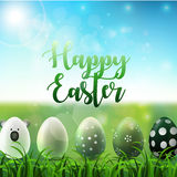 Easter background with easter eggs in the grass on sunny sky background Stock Image