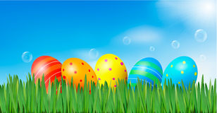 Easter background  Easter eggs laying in grass Royalty Free Stock Photography