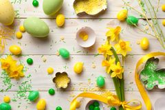 Easter Background with Easter Eggs and Spring Flowers Royalty Free Stock Photo