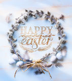 Easter background with Easter eggs and spring flowers. Top view Stock Photography