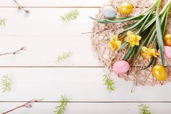 Easter background with Easter eggs and spring flowers. Top view with copy space. Easter background with Easter eggs, pussy-willow and spring flowers narcissus royalty free stock image