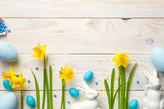 Easter Background with Easter Eggs and Spring Flowers Royalty Free Stock Image