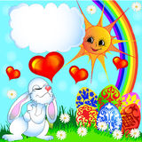 Easter background with egg and amusing rabbit. Illustration easter background with egg and amusing rabbit and rainbow vector illustration