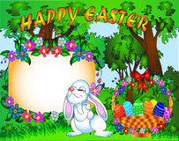 Easter background with egg and amusing rabbit Royalty Free Stock Photos