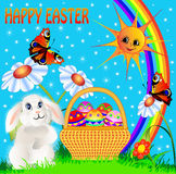 Easter background with egg and amusing rabbit and. Illustration easter background with egg and amusing rabbit and rainbow royalty free illustration