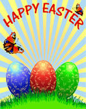 Easter background with egg and butterfly and ray Stock Images