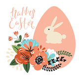 Easter background with egg and flowers. royalty free illustration