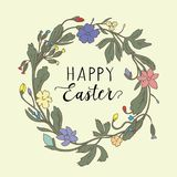 Easter congratulation on an abstract background with a wreath of flowers. Easter background with an egg and greetings. Easter greetings illustration royalty free illustration