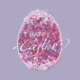 Easter background with egg and spring flower Stock Images