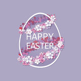 Easter background with egg and spring flower Stock Photography