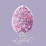 Easter background with egg and spring flower Stock Photos
