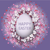 Easter background with egg and spring flower Royalty Free Stock Photos