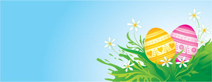 Easter background with eggs. Easter banner with decorative eggs Stock Photo
