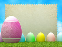 Easter background - eggs and blank paper sheet Royalty Free Stock Photo