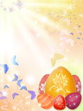 Easter background with eggs and butterflies Stock Photo
