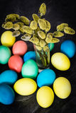 Easter background with eggs and Catkin Stock Photo