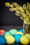 Easter background with eggs and Catkin Stock Images