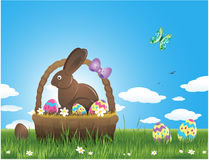 Easter background with eggs and chocolate bunny Royalty Free Stock Photo