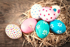 Easter background with eggs and copyspace. Happy Easter! Royalty Free Stock Image