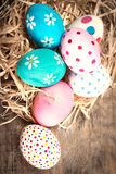 Easter background with eggs and copyspace. Happy Easter! Royalty Free Stock Photography