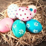 Easter background with eggs and copyspace. Happy Easter! Royalty Free Stock Photos