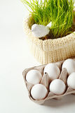 Easter background with eggs and cute bird Royalty Free Stock Photos