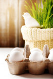 Easter background with eggs and cute bird Royalty Free Stock Photography