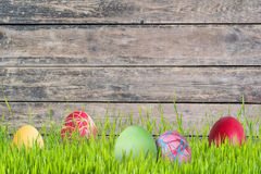 Easter Background with Eggs and Flowers stock photo