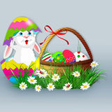 Easter background with eggs,flowers and rabbit. Easter background with Easter eggs in basket Royalty Free Stock Images