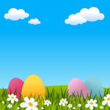 Easter Background with Eggs and Flowers. Easter or spring background with Easter eggs, green grass and flowers. Eps file available Royalty Free Stock Photo