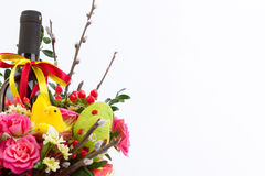 Easter background with eggs and flowers, white background Royalty Free Stock Images