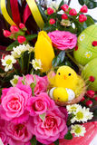 Easter background with eggs and flowers, white background Stock Image