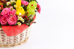 Easter background with eggs and flowers, white background Royalty Free Stock Photo