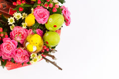 Easter background with eggs and flowers, white background Stock Photography