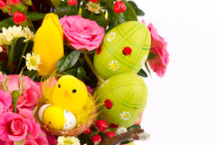 Easter background with eggs and flowers, white background Royalty Free Stock Photography