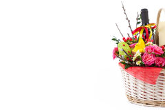 Easter background with eggs and flowers, white background Royalty Free Stock Image