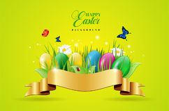 Easter background with easter eggs and golden ribbon. Abstract easter background with easter eggs, plants, butterflies, golden ribbon and daisy flowers - vector Stock Photo