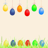 Easter background with eggs and grass Royalty Free Stock Images