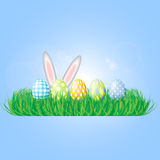 Easter background with eggs in grass Royalty Free Stock Photo