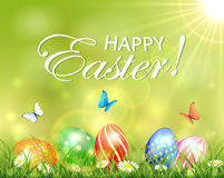 Easter background with eggs in grass with flowers Stock Photography