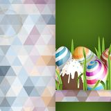 Easter Background With Eggs In Grass. Greeting Card Design, Template. Easter Background With Eggs In Grass. Vector Illustration. Eps 10 Royalty Free Stock Images
