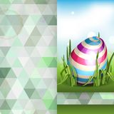 Easter Background With Eggs In Grass. Greeting Card Design, Template. Easter Background With Eggs In Grass. Vector Illustration. Eps 10 Stock Photography