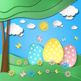 Easter background with eggs in grass. Illustration Royalty Free Stock Photography